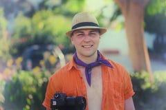 Happy european tourist man smile with camera royalty free stock image