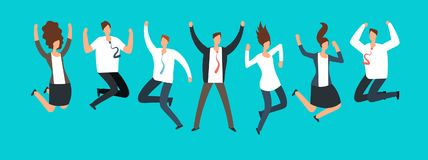 Happy excited business people, employees jumping together. Successful team work and leadership vector cartoon concept. Business leadership with team success