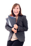 Happy excited business woman Royalty Free Stock Photo