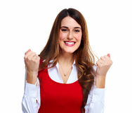 Happy excited business woman. Stock Images