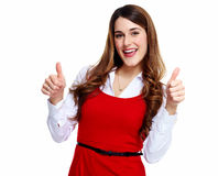 Happy excited business woman. Royalty Free Stock Image