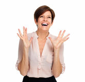 Happy excited business woman. Royalty Free Stock Images