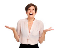 Happy excited business woman. Royalty Free Stock Photos