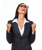Happy excited business woman. Royalty Free Stock Photography