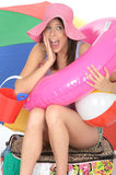 Happy Excited Cheerful Young Woman on Holiday Overloaded with Items Stock Photo