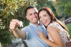 Happy Excited Couple with New House Keys stock photos