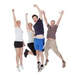 Happy excited family jumping Royalty Free Stock Image