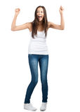 Happy excited girl with arms extended Stock Image