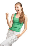 Happy excited girl with open mouth Royalty Free Stock Images