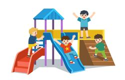 Happy excited kids having fun together. Children playing in playground. Colorful isometric playground elements set with Kids. Set of Happy excited kids having stock illustration