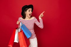 Happy excited lady with many shopping packs stock photos