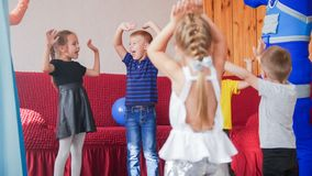 Happy excited little kids having fun together royalty free stock photography