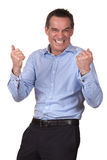 Happy Excited Man in Blue Shirt Stock Images