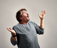 Happy excited man. Glad excited laughing mature man expressions over gray background Royalty Free Stock Photography