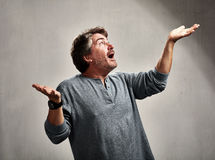 Happy excited man. Glad excited laughing mature man expressions over gray background Stock Images
