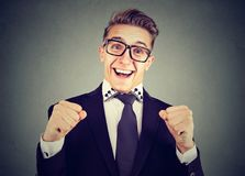Happy excited man in glasses Royalty Free Stock Images