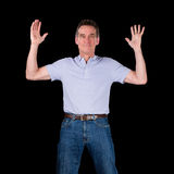 Happy Excited Man Hands Raised in Air Stock Photo
