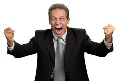 Happy excited man triumphing with raised fists. Portrait of ecstatic boss celebrating victory with clenched fists over white background royalty free stock photo