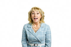 Happy and excited mature woman. Royalty Free Stock Photo