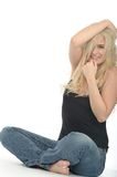 Happy Excited Natural Attractive Young Woman Sitting on The Floor Royalty Free Stock Photo