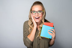 Happy excited student girl Royalty Free Stock Photo