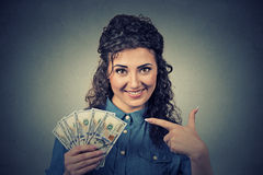 Happy excited successful young business woman holding money dollar bills Royalty Free Stock Photos