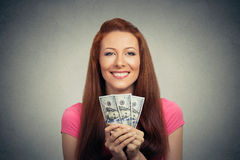 Happy excited successful young business woman holding money dollar bills Stock Photos