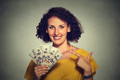 Happy excited successful young business woman holding money dollar bills in hand Royalty Free Stock Photography