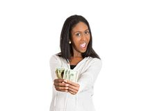 Happy excited successful young woman holding money Stock Photo