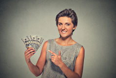 Happy excited successful young woman holding money dollar bills Royalty Free Stock Photos