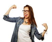 Happy excited woman celebrating her success. Royalty Free Stock Photo