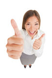 Happy excited woman giving thumbs up Royalty Free Stock Photography