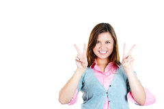 Happy, excited woman giving two hands peace sign Royalty Free Stock Photos
