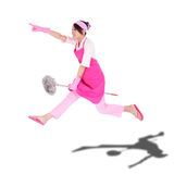 Happy excited woman housewife. Cleaning woman housewife jumping happy excited isolated on white background. asian Stock Photography