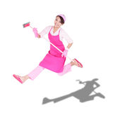 Happy excited woman housewife. Cleaning woman housewife jumping happy excited isolated on white background. asian Stock Photos
