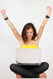 Happy excited woman on laptop Stock Images