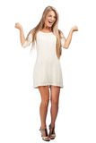 Happy excited woman with raised arms Royalty Free Stock Photo