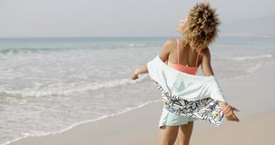 Happy Excited Woman By The Sea stock footage