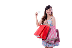 happy excited woman standing and holding shopping bags Stock Images