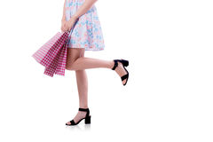 happy excited woman standing and holding shopping bags. Royalty Free Stock Image