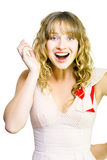 Happy excited woman with wide smile. Studio shot of happy attractive woman with excited wide smile on white background Royalty Free Stock Photo
