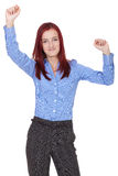 Happy and excited young businesswoman, isolated Royalty Free Stock Photo