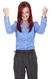 Happy and excited young businesswoman, isolated Royalty Free Stock Photography