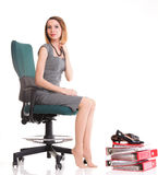 Happy excited young businesswoman, relaxing in office chair, rel Stock Image