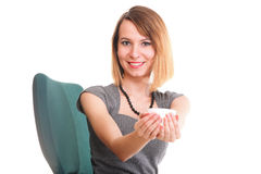 Happy excited young businesswoman, relaxing in office chair, rel Royalty Free Stock Images