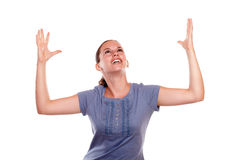 Happy excited young woman celebrating a victory Royalty Free Stock Photo