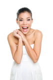 Happy excited young woman isolated on white. Background. Asian lady in dress screaming in happiness Royalty Free Stock Photo