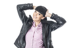 Happy Excited Young Woman Posing with Hands on Head Royalty Free Stock Photos