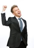 Happy executive fists gesturing Royalty Free Stock Image