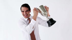 Happy executive holding a cup. Against a white background stock footage